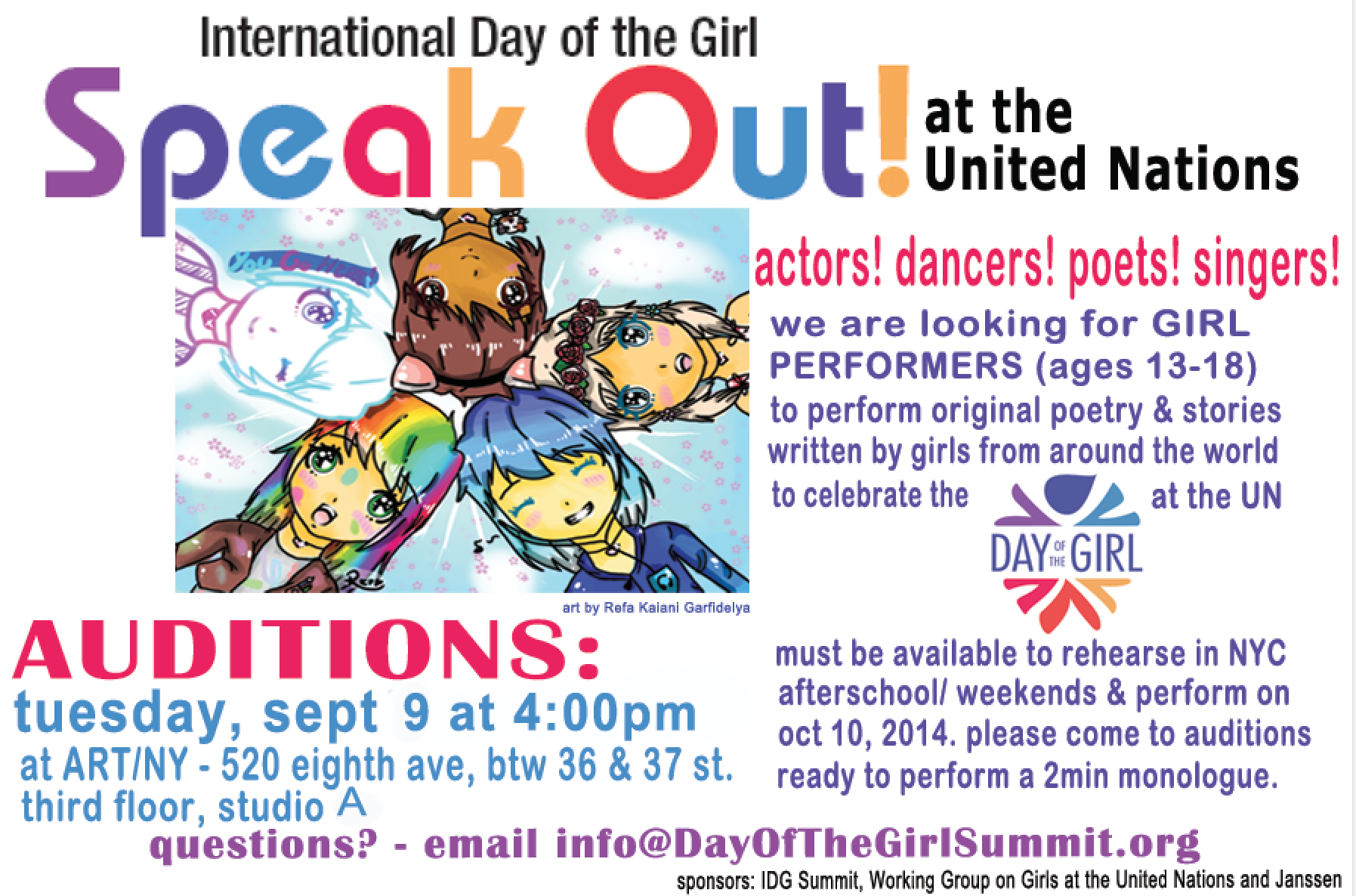2nd Round of Auditions for Girls Speak Out!