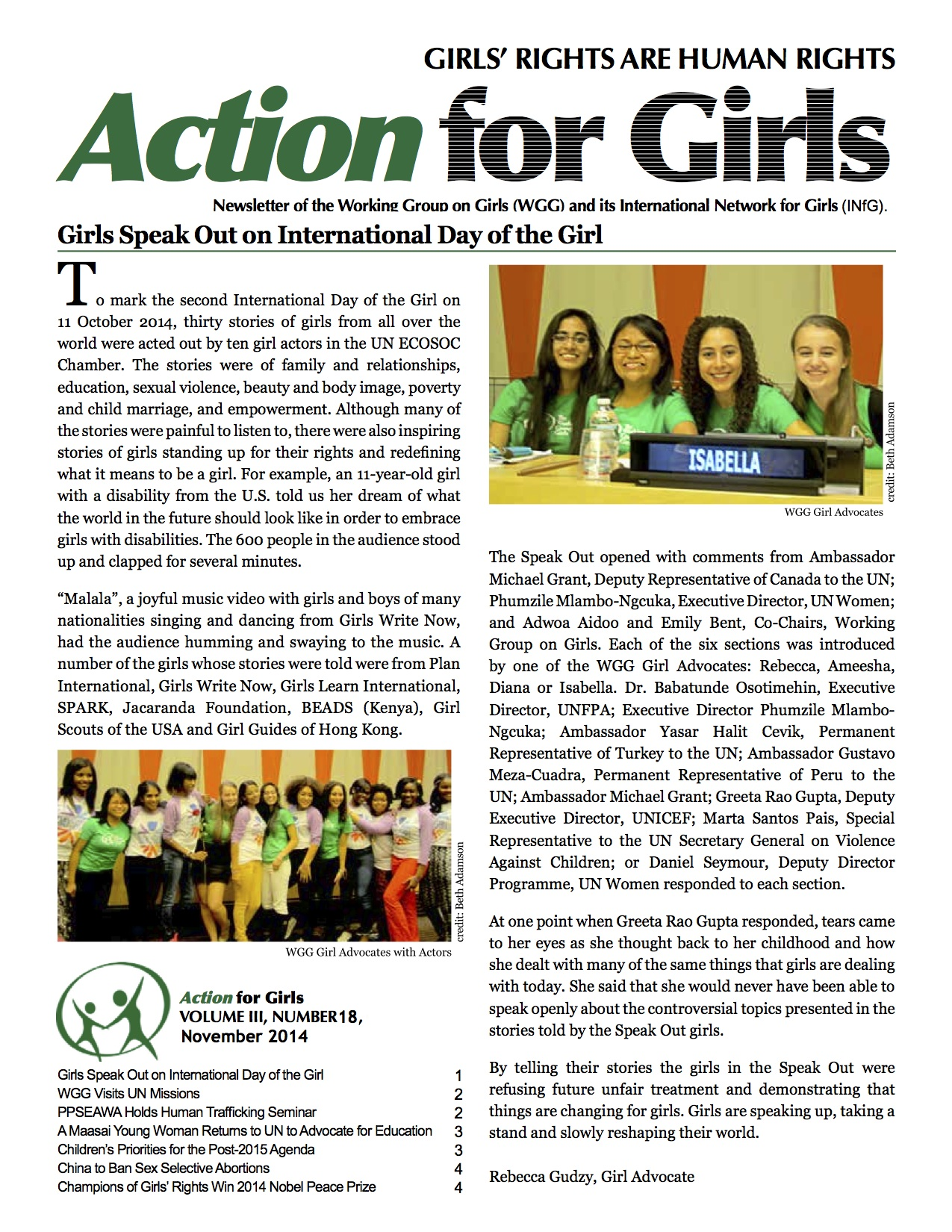 Read the Latest Action for Girls!