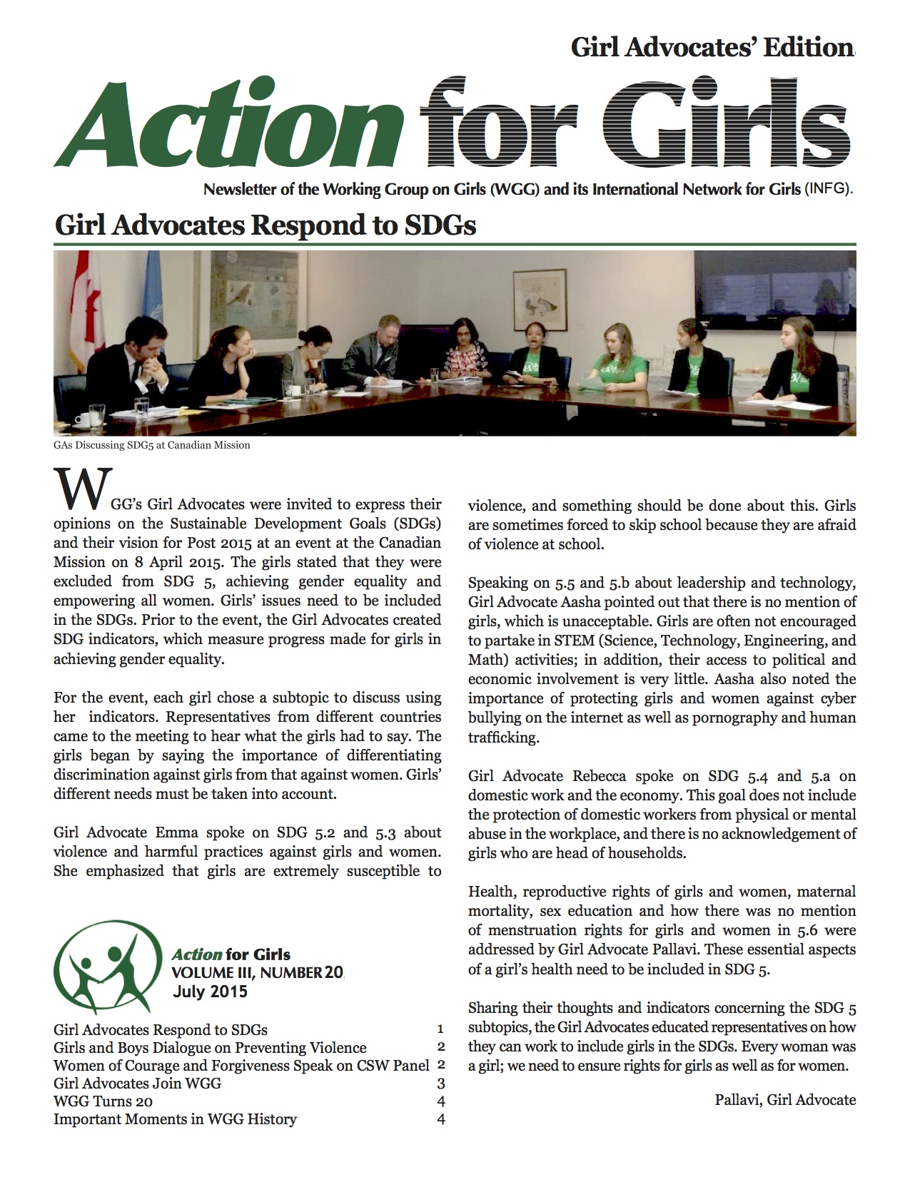 New Action for Girls! Girl Advocate Edition
